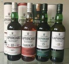4 bottles - Laphroaig, Cardeas 2016, 10 years old cask strength batch 8, 15 years old, 18 years old