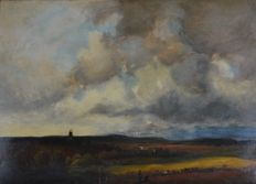 Unknown (19th century) - A country landscape with cattle under an impressive sky