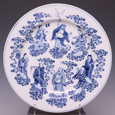 Nice blue & white porcelain plate, eight immortals - China - 19th century (Daoguang period )
