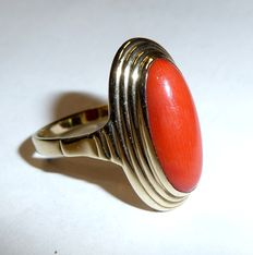 Coral ring made of 8 kt / 333 gold, ship design with big blood coral from the Mediterranean Sea