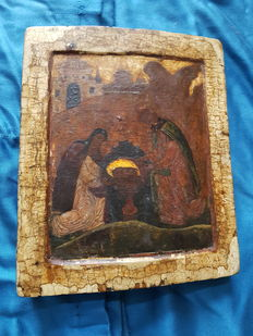 Old Russian icon Finding of the Head - 17th early 18th century