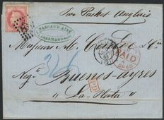 France 1868 - Letter destined for Buenos-Aires, Argentina - Yvert no. 32.