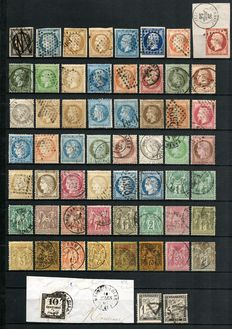Collection of French stamps from 1849-1890 with Yvert numbers 3 and 105.