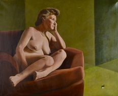 Percival A Bates (20th century) - A naked woman relaxing in a chair