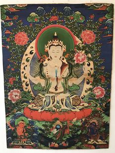 Thangka representing four-armed Chenrezig - Nepal - late 20th century
