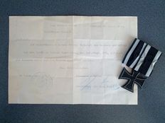 Imperial Germany Iron cross 2nd class on Einzelspange + Deed - Flanders and Yper -1917
