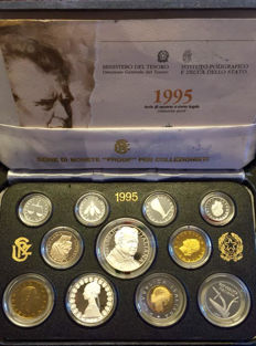 Italy, Republic - Year set Proof 1995 (incl. 2 silver coins)
