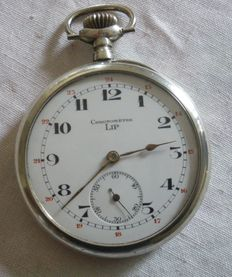 Lip pocket watch, chronograph, 1910, silver case