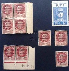"France 1944 - Annecy liberation, ""Pétain 1F50 brown"" and Annemasse liberation ""Pétain 1F50 brown"""