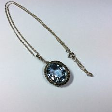 835 silver chain and pendant with marcasites and topaz