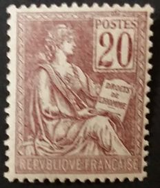 France 1900/1901 - Mouchon, Type 1, 20 c. brown-purple, signed Calves with digital certificate - Yvert no. 113