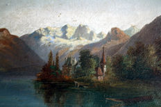 Hubert Sattler - Thun with Eiger, Monk and Maiden