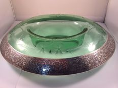 Green glass bowl with matching candlesticks, decorated with a silver bezel, Cambridge, 1st half 20th century