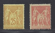 France 1890/1898 - Sage 25c and 40c. - Yvert 92 and 94