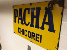 Large pacha chicory enamel sign from 1935