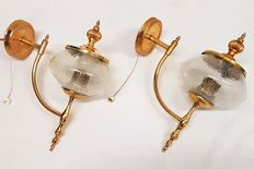 Two very nice wall lamps - craquelure glass and brass, approximately 1940, France