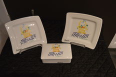 Two plates and a PICASSO butter dish