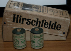 Lot of 2 original big rolls of linen thread 25 s 50 g twined 3 times FIELD GREY