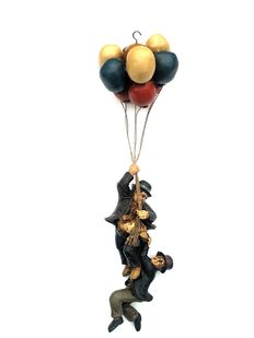 "Collectible large image of Laurel and Hardy hanging on balloons-""Up Up Up and Away"", 2nd half 20th century-England"