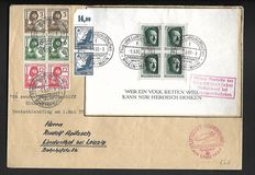Germany Reich 1937/1944 – 16 Letters und 4 cards, like Michel Block 7 665/668, 896/898, se-tenant, official mail, and airmail.