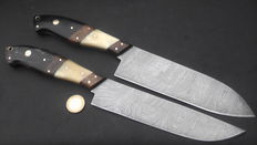 Set of two handcrafted chef's knives-1 long and elegant chef's knife, and 1 one wide chef's knife - 200+ layers of Damascus steel