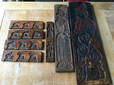 Old gingerbread / cake boards and confectionary boards,  bakery equipment / Old Dutch folk art, seven pieces hand-carved in wood