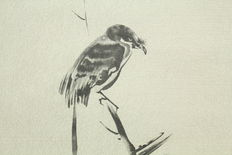 Scroll painting sparrow - Japan - second half 20th century
