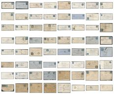 France 1850/1890 – Lot of 60 letters including 7 letters with square postage due stamps.