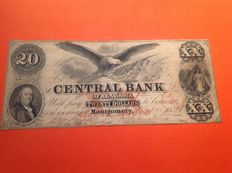 USA - Obsolete Currency - 20 dollars 1853 - States of Alabama