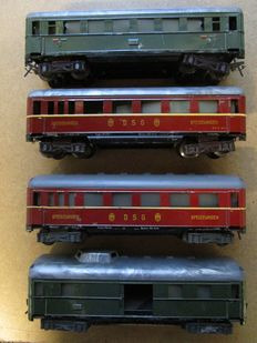 Fleischmann, US Zone Germany - scale 0 - Set of 4 tinplate Coaches Nos. 410, 411 and 412, 50s