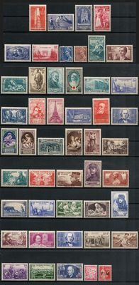 France 1938/1940 - lot of 48 stamps, Yvert no. 395 - 469