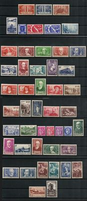 France 1936/1938 - lot of 48 stamps Yvert no. between 316 and 393