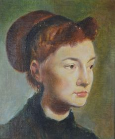 Percival A Bates (20th century) - A portrait of a French girl