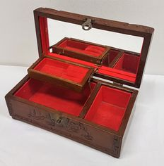 Wooden jewellery box made of exotic wood - China - approx. 1970