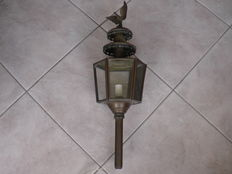 Old large copper carriage lamp with eagle - 64 cm high