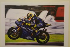 Marc Márquez Honda RC213V + Valentino Rossi Yamaha YZRM1 motorcycle Gp - 2  posters - hand signed by the artist Andréa Del Pesco + COA.