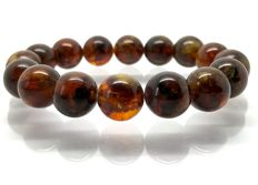 Bracelet of dark Baltic amber round beads of 13 mm in diameter