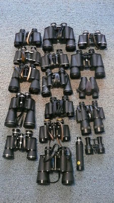 Collection of 17 binoculars