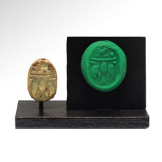 Egyptian Steatite Scarab with Hieroglyphs: Rebirth and Protection Wishes, 1.6 cm L