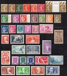 France 1932/1936 – Set of 38 stamps between Yvert 277A and 333