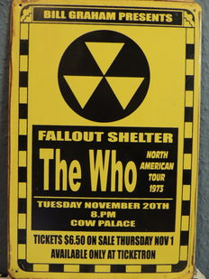 The Who - Concert  - Tuesday November 20th 1973- Metal Memorial Sign