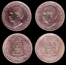 Portugal – King Luís I – 2 silver 500 reis coins - Years 1867 and 1868 (both rare years)