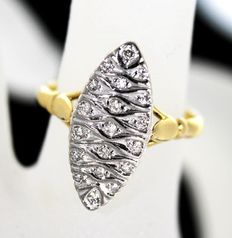 Bicolor Marquise ring - yellow&white gold (18 kt) with diamonds.