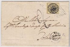 Papal – 1852 – 3 baj – yellow – on letter from Rome to Tolentino