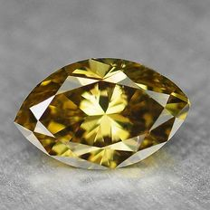 0.25 ct marquise cut diamond, natural fancy deep brownish yellow SI2