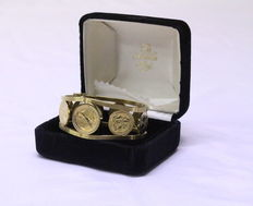 Franklin Mint - Golden caribbean coin bangle watch
