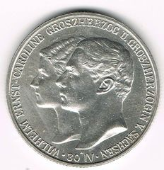 German Empire, Sachsen-Weimar-Eisenach - 2 Mark 1903 A at his First Marriage to Caroline Reusss Older Linage - silver