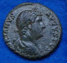 Roman Empire – As of Hadrianus (117-138 A.D.) minted in Rome with Justitia on the reverse side