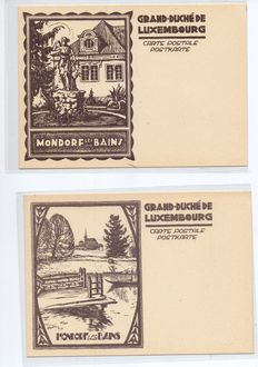 Luxembourg 2 Mondorf les Bains ESSAIS cards issued in 1927