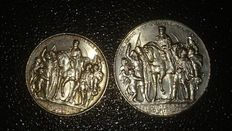 German Empire, Prussia - 2, 3 Mark 1913 A 100 Years Defeat of Napoleon - silver